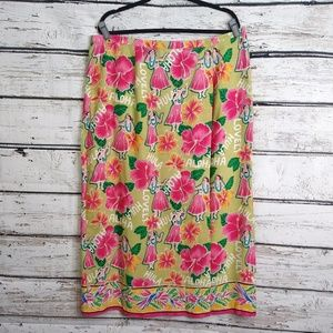 Hearts of Palm/ Hawaiian Print Wrap Skirt/ Sz 18